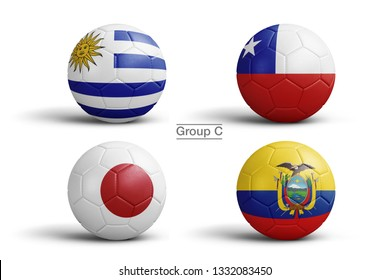 Flags of Copa América 2019 (CONMEBOL), Group C, flag in balls, 3d rendering. Soccer balls in 3d illustration. Main Men's Football Tournament.