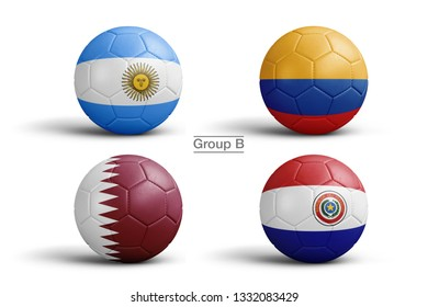 Flags of Copa America 2019 (CONMEBOL), Group B, flag in balls, 3d rendering. Soccer balls in 3d illustration. Main Men's Football Tournament.