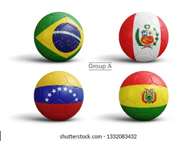 Flags of Copa America 2019 (CONMEBOL), Group A, flag in balls, 3d rendering. Soccer balls in 3d illustration. Main Men's Football Tournament.