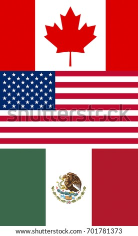 Flags Countries North American Free Trade Stock Illustration