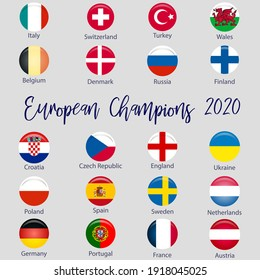 Flags of countries participating in the Football Championship 2020, soccer ball.