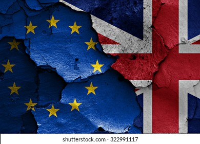 flags of EU and UK painted on cracked wall