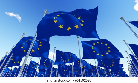 Flags of the European Union over blue cloudy sky. 3D illustration.