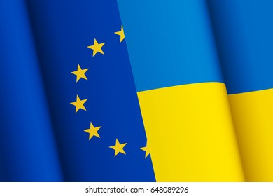 Flags of the European Union and Ukraine combined together. Schengen area. Visa-free regime. Political interaction between countries