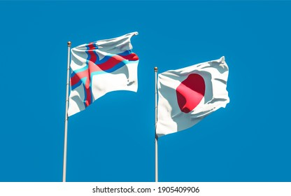 Flags of Faroe Islands and Japan. 3D artwork