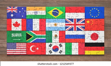 Flags of the G20 member countries in the form of puzzle pieces. 3D illustration.