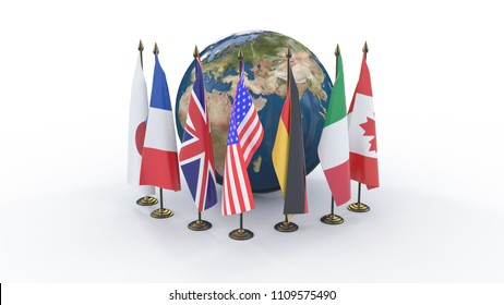 Flags of G7 members around the 3d Earth Globe isolated on white background