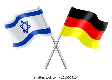 Flags of Germany and Israel In 3D isolated on a white background