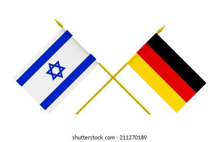 Flags of Germany and Israel, 3d render, isolated on white