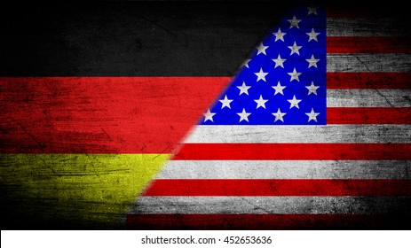 Flags of Germany and USA divided diagonally