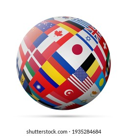 Flags globe. 3D illustration isolated on white.