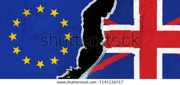 Flags of the Great Britain and the European Union on the cracking ice sheet symbolizing Brexit