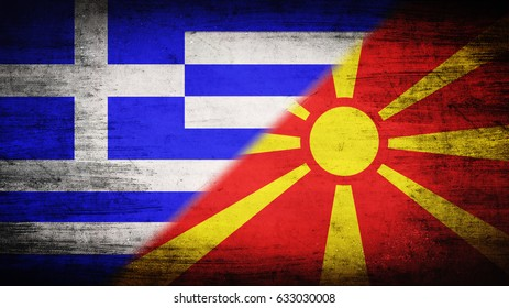 Flags of Greece and Macedonia divided diagonally