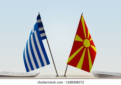 Flags of Greece and Macedonia FYROM. Cloth of flags is 3d rendering, the rest is a photo.
