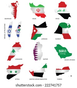 Flags of Gulf Sates overlaid on outline maps isolated on white background