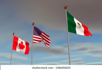 Flags hoisted in the wind, from Canada, the United States and Mexico by the USMCA or NAFTA, with storm on the horizon. 3D Rendering.