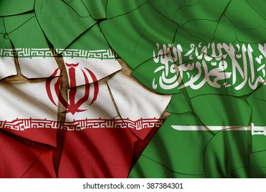 Flags of Iran and Saudi Arabia on a cracked paint wall. A symbol of conflict between 2 nations, Tehran and Riyadh which have been strained over different geo-political issues i.e oil export policy,etc