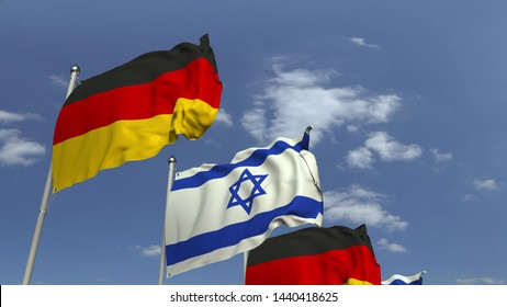 Flags of Israel and Germany at international meeting, 3D rendering