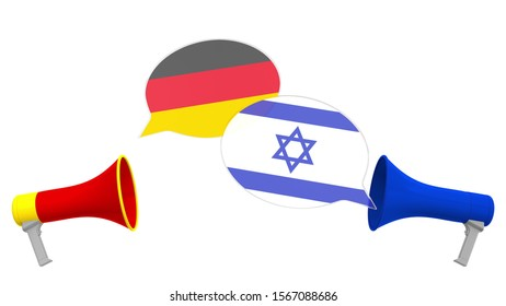 Flags of Israel and Germany on speech balloons from megaphones. Intercultural dialogue or international talks related 3D rendering