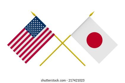 Flags of Japan and USA, 3d render, isolated
