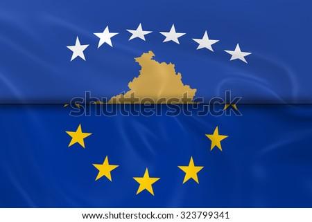 Flags Kosovo European Union Split Half Stock Illustration 323799341