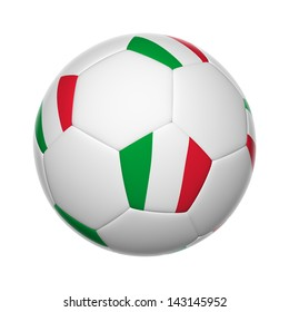 Flags on soccer ball of Italy