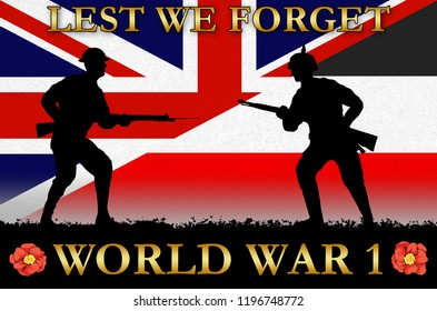 flags on a World War 1 banner. War scene with circa 1915 soldier uniform silhouettes. Original digital illustration.