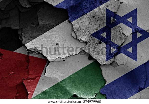 banderas de Palestina e Israel pintadas en una pared rota