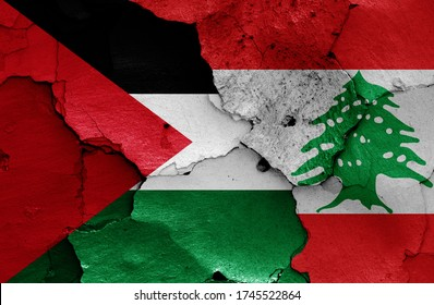 flags of Palestine and Lebanon painted on cracked wall