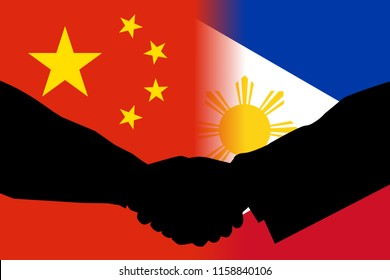 Flags of the Philippines and China side by side each other with a shadow of a handshake between two persons signifying agreement and cooperation.