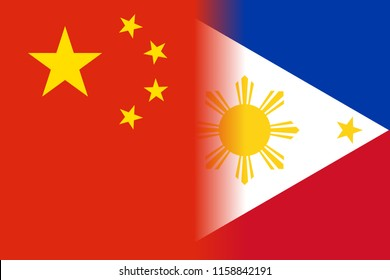Flags of the Philippines and China side by side each other. The two countries are developing a closer relationship recently.
