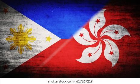 Flags of Philippines and Hong Kong divided diagonally