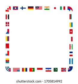 A lot of flags of sovereign states arranged in square frame isolated on a white background