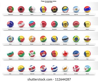 Flag round icons buttons rating country stock vector royalty free flags of sovereign states projected as spheres on a white background all un member states freerunsca Image collections