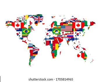 A lot of flags of sovereign states in world map shape isolated on a white background