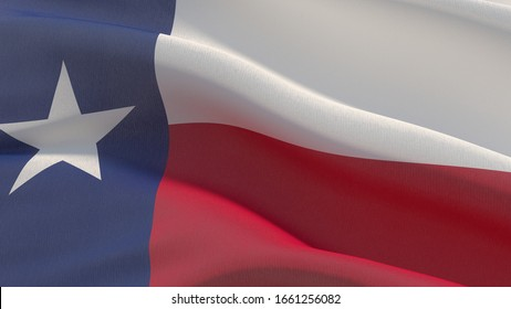 Flags of the states of USA. State of Texas flag. 3D illustration.