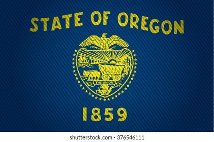 Flags from the states of the USA (  with a woven textile texture and spotlight )  ; the flag of oregon