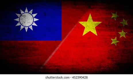 Flags of Taiwan and China divided diagonally