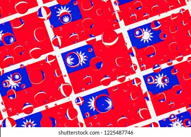 Flags  of Tchaj-wan, behind a glass covered with rain drops.Pattern from Tchaj-wan flags. 3D illustration