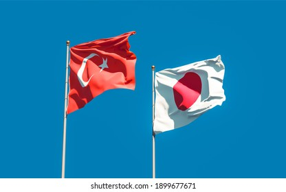 Flags of Turkey and Japan. 3D artwork
