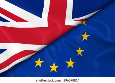 Flags of the UK and European Union Divided Diagonally - 3D Render of the British and EU Flag