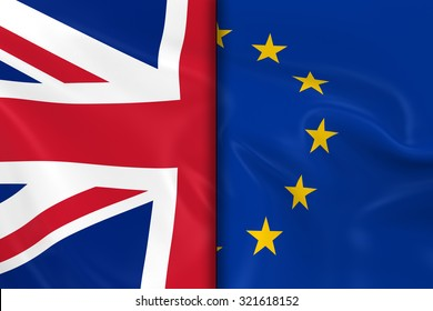 Flags of the United Kingdom and the European Union Split Down the Middle - 3D Render of the UK Flag and EU Flag with Silky Texture
