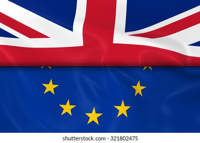 Flags of the United Kingdom and the European Union Split in Half - 3D Render of the UK Flag and EU Flag with Silky Texture