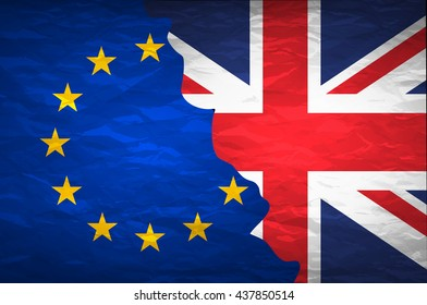 Flags of the United Kingdom and the European Union on crumpled paper background. Vintage effect brexit art