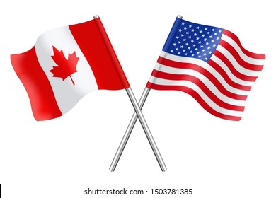 Flags of United States of America and Canada isolated on a white background
