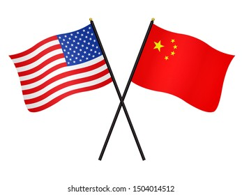 Flags of United States of America and China isolated on a white background