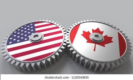 Flags of the USA and Canada on meshing gears. International cooperation conceptual 3D rendering
