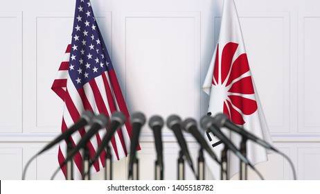 Flags of the USA and Huawei at press conference. Conceptual editorial 3D rendering