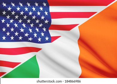 Flags of USA and Ireland blowing in the wind. Part of a series.