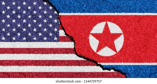 flags of USA and North Korea painted on a cracked wall symbolizing difficult diplomatic relations between North Korea and USA